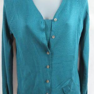 Turquoise Two Piece Silk Cardigan Set-Silk